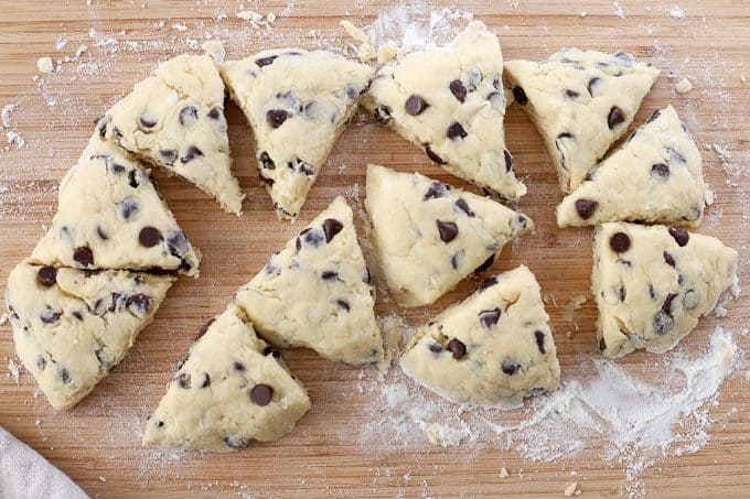 Chocolate Chip Scones on a wooden cutting board.