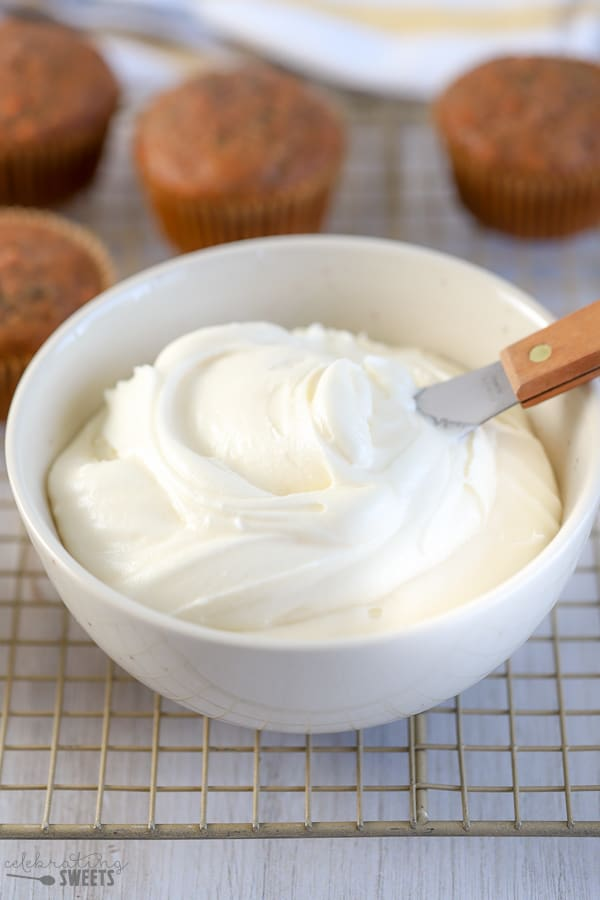 Bowl of cream cheese frosting.