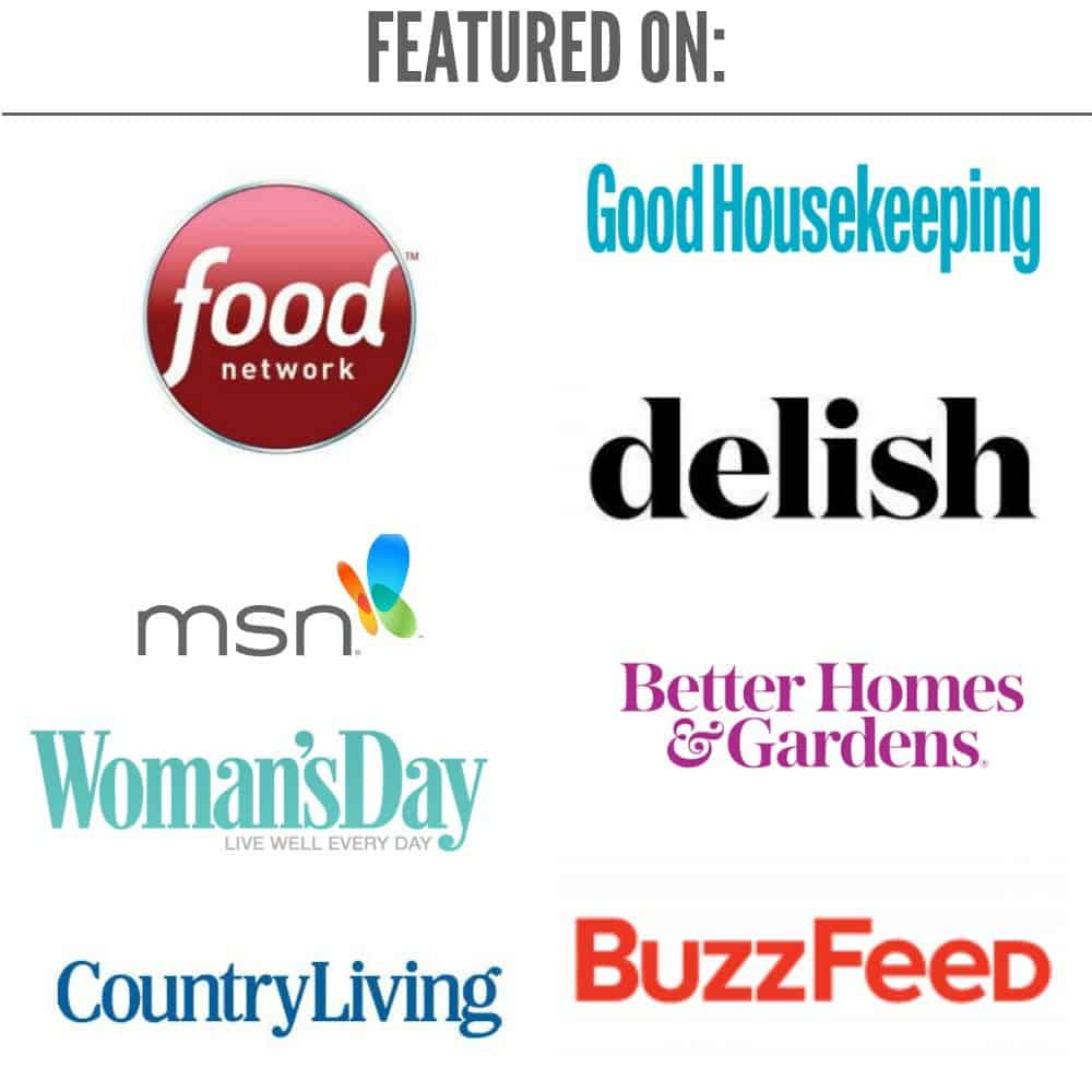 Logo for country living, food network, buzzfeed, msn, delish, good housekeeping