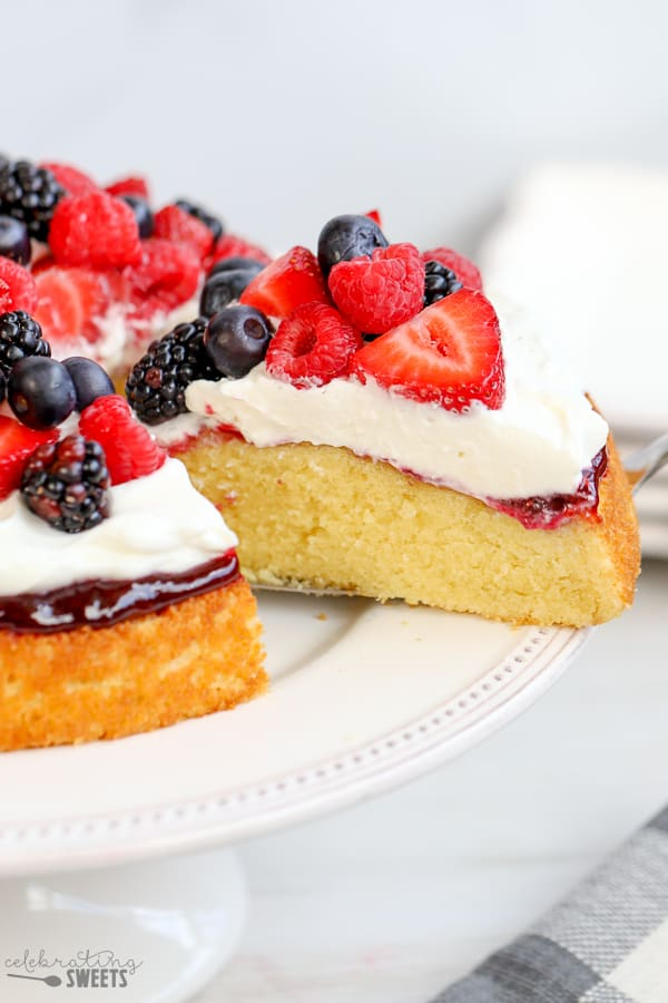 Single layer cake topped with jam, whipped cream and fresh berries.