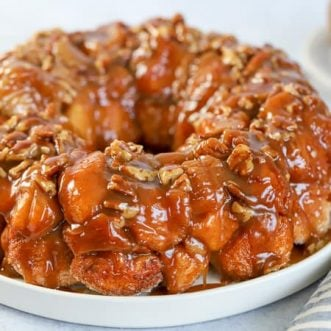 Caramel monkey bread on a white plate.