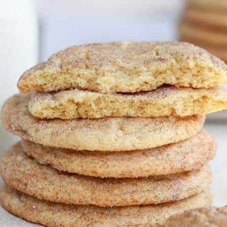Stack of 5 snickerdoodle cookies.