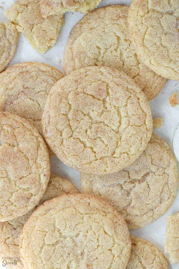 Snickerdoodle cookies on parchment paper.