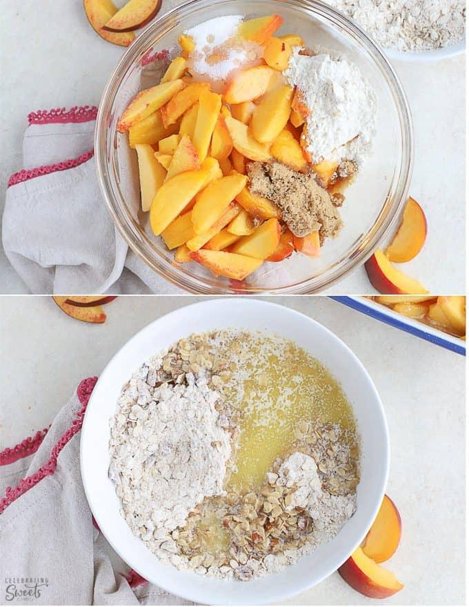 Peaches, flour, sugar, oats in glass bowls for making a peach crisp.