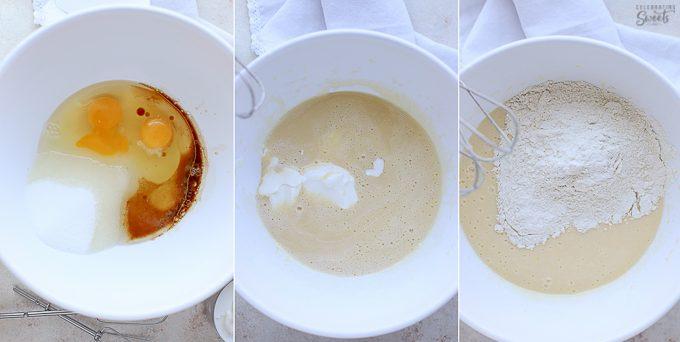 Vanilla cake batter ingredients in a white bowl.
