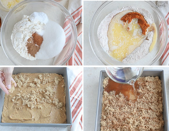 How to make a pumpkin pudding cake, ingredients in a bowl.