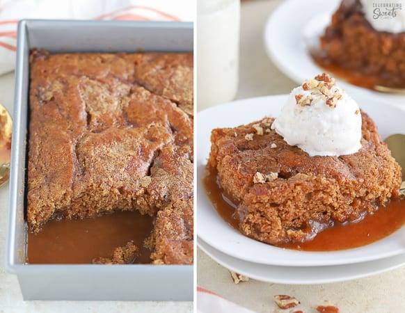 Pumpkin pudding cake with caramel sauce underneath.