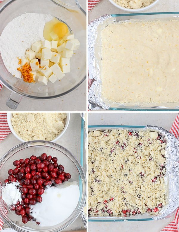 How to make cranberry bars: dough and cranberry filling.