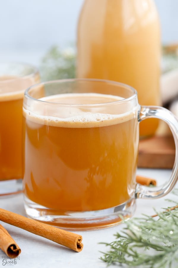 Hot Buttered Rum in a glass mug.
