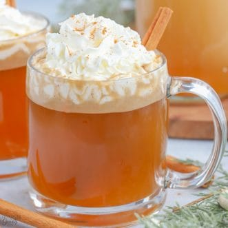 Hot Buttered Rum topped with whipped cream.
