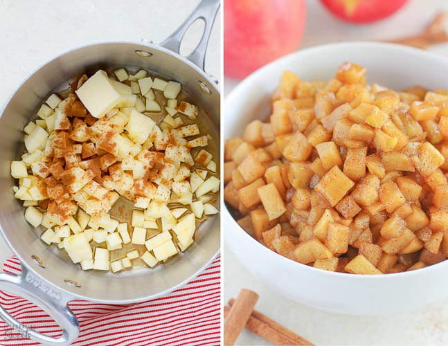 Diced apples with maple syrup and cinnamon.