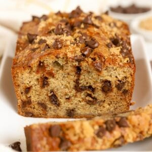 Closeup of a loaf of chocolate chip banana bread