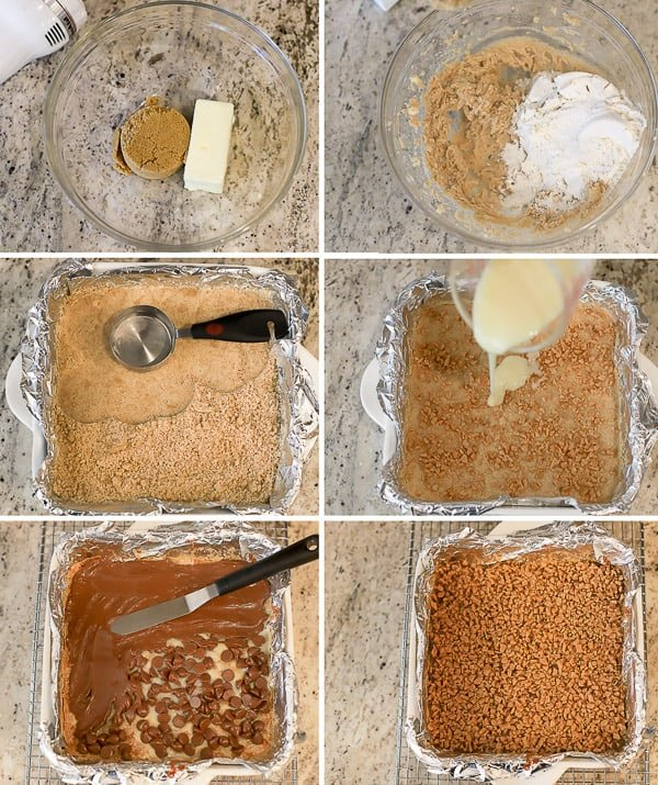 How to make toffee bars - cookie dough in a bowl, bars topped with toffee and chocolate.
