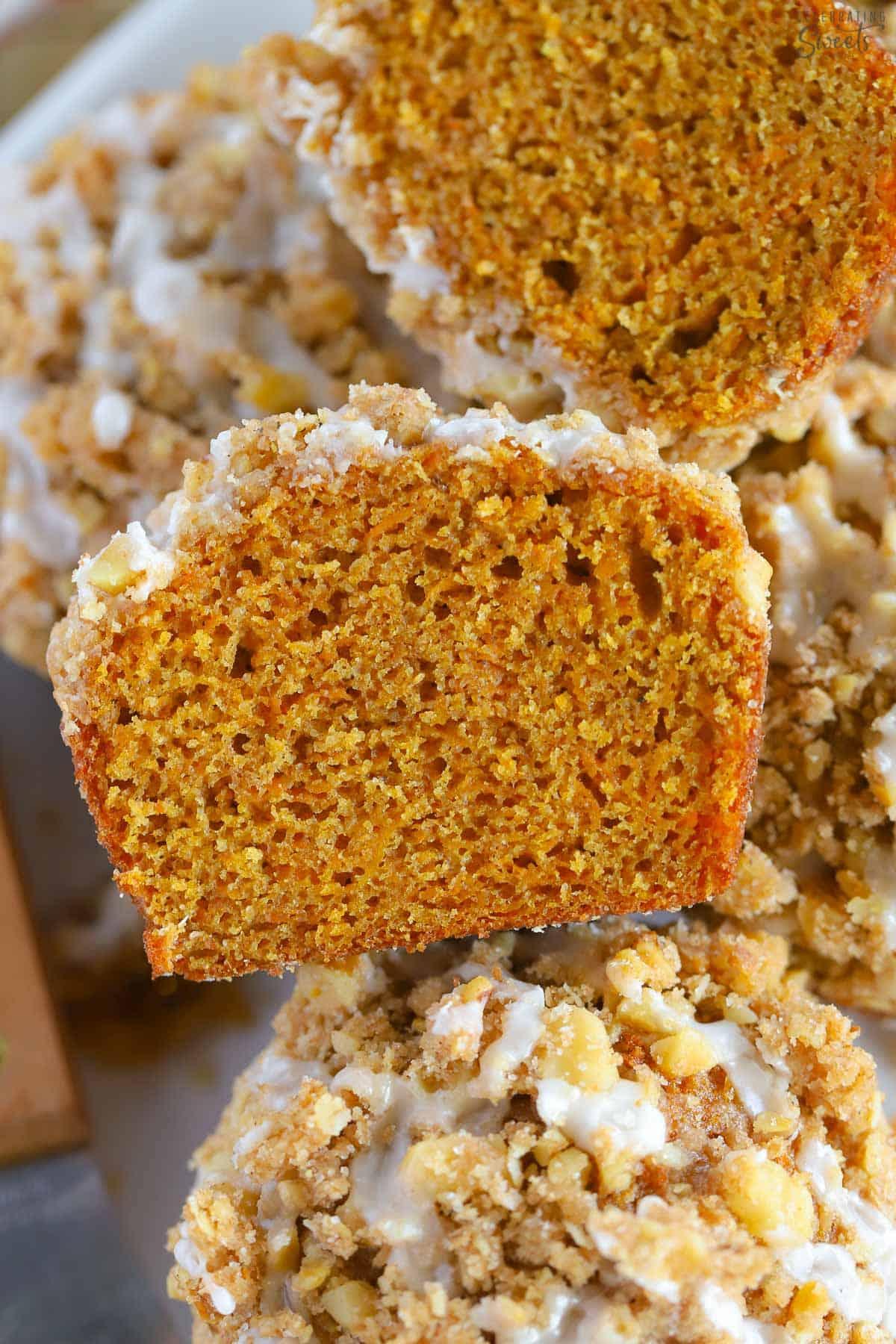 Closeup of a pumpkin muffin cut in halfi