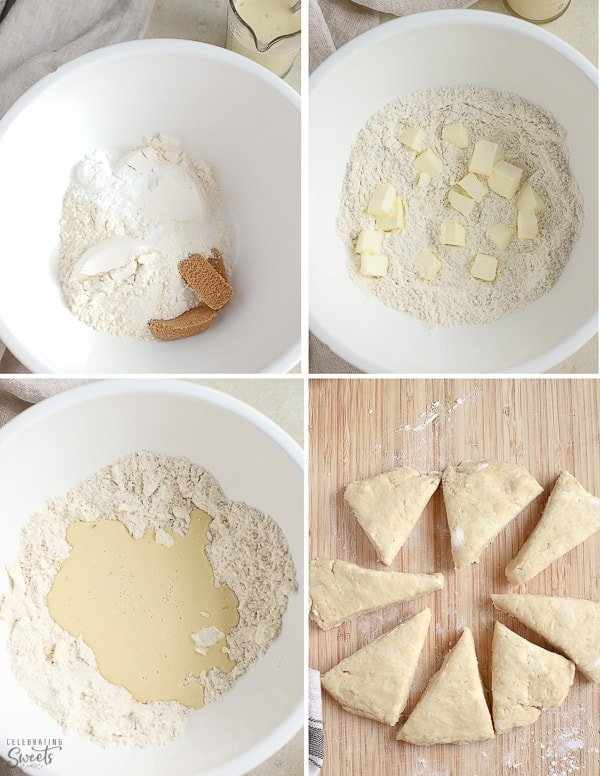 How to make scones: scone dough in a white bowl.