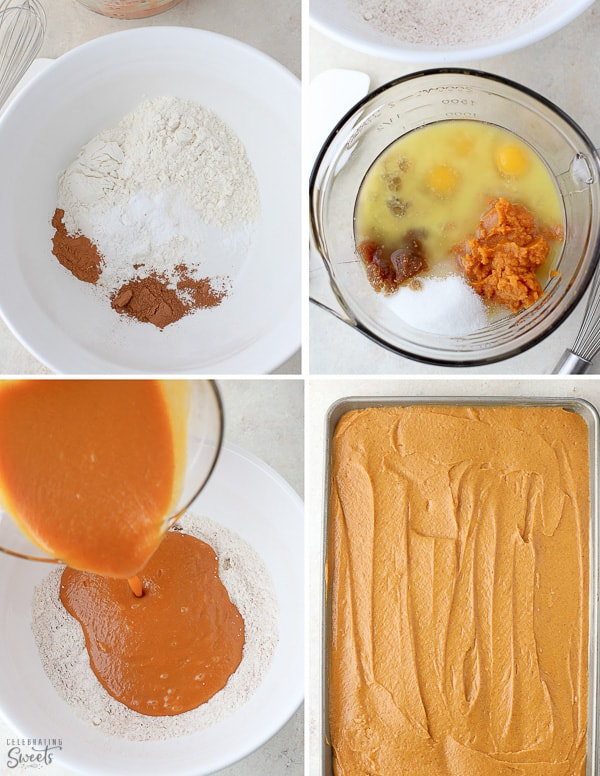 Ingredients and cake batter for pumpkin bars (in bowls and a pan).