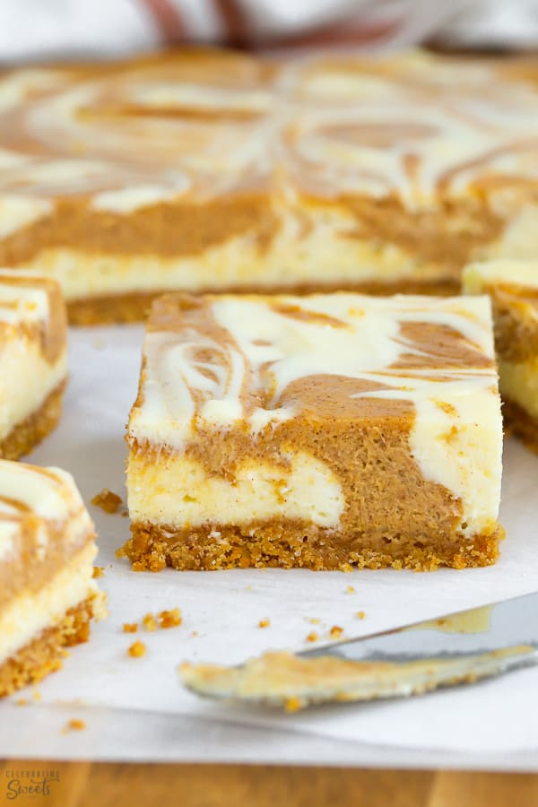 Pumpkin Cheesecake Bars Celebrating Sweets