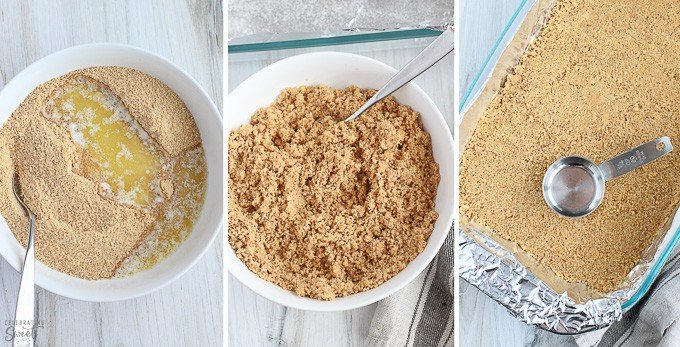 Graham cracker crumbs in a bowl and graham cracker crust in a pan.