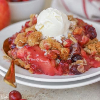Scoop of Apple Cranberry Crisp topped with vanilla ice cream on a white plate.