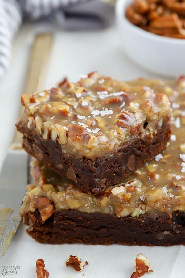 Closeup of brownies with pecan topping