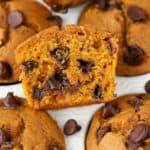 Closeup of pumpkin chocolate chip muffin cut in half