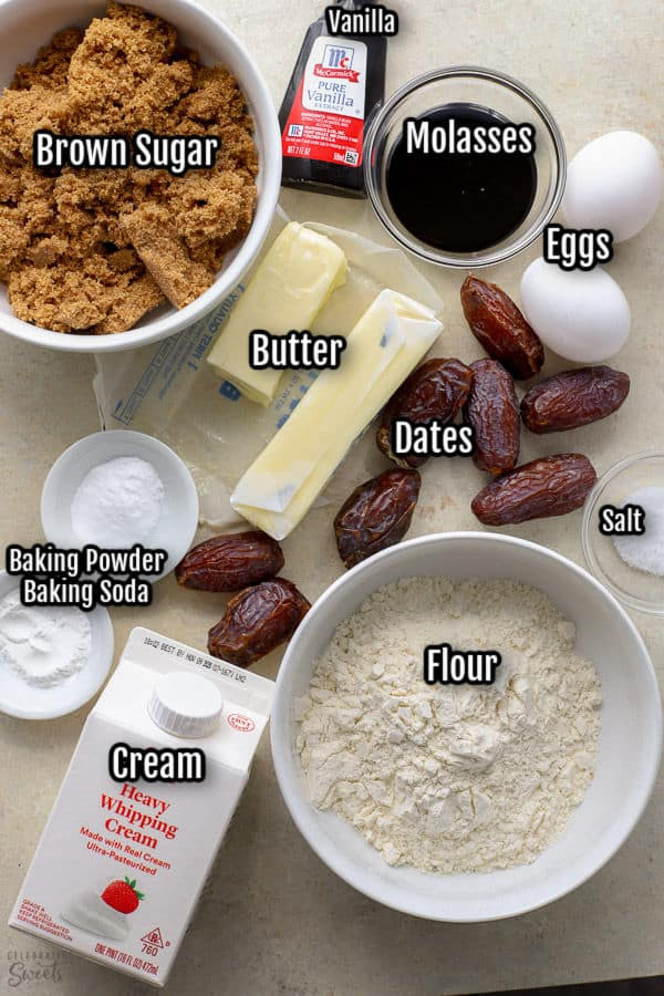 Ingredients to make sticky toffee pudding.