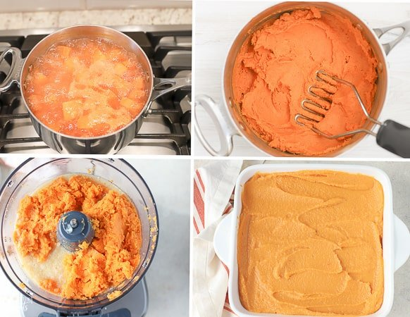 Boiled and mashed sweet potatoes