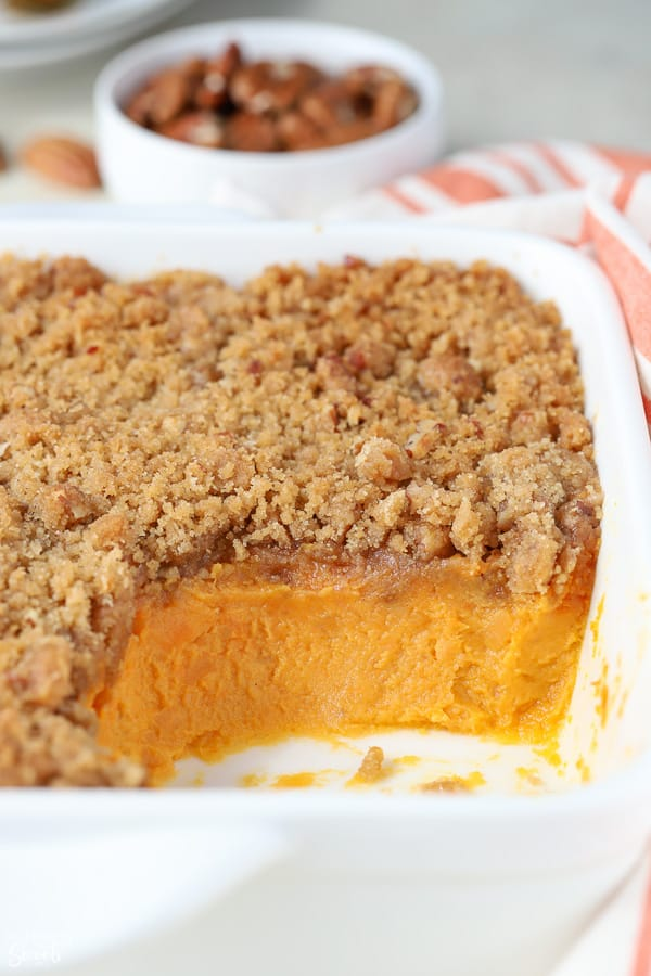 Sweet potato souffle in a white baking dish