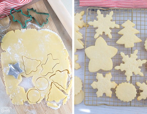 Cut out sugar cookies on a rack