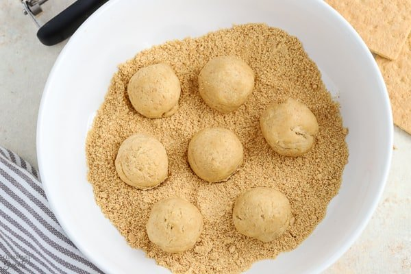 Cookie dough balls in a bowl with graham cracker crumbs