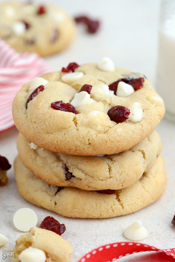 Stack of white chocolate cranberry cookie