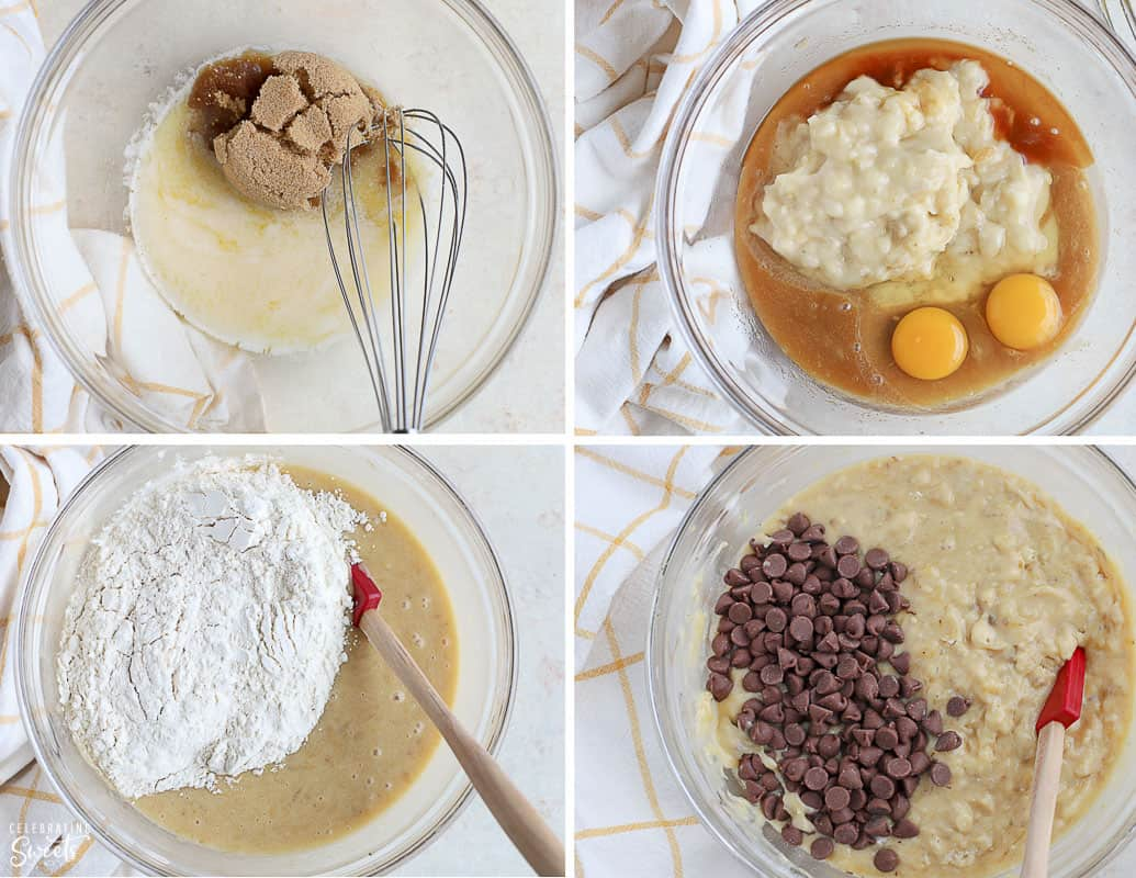 Ingredients for Banana Chocolate Chip Muffins in a glass bowl