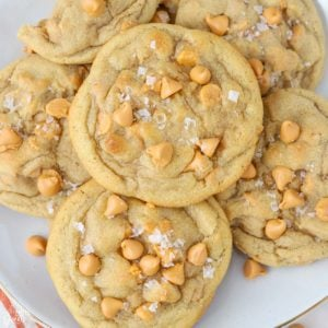 Plate filled with butterscotch cookies.