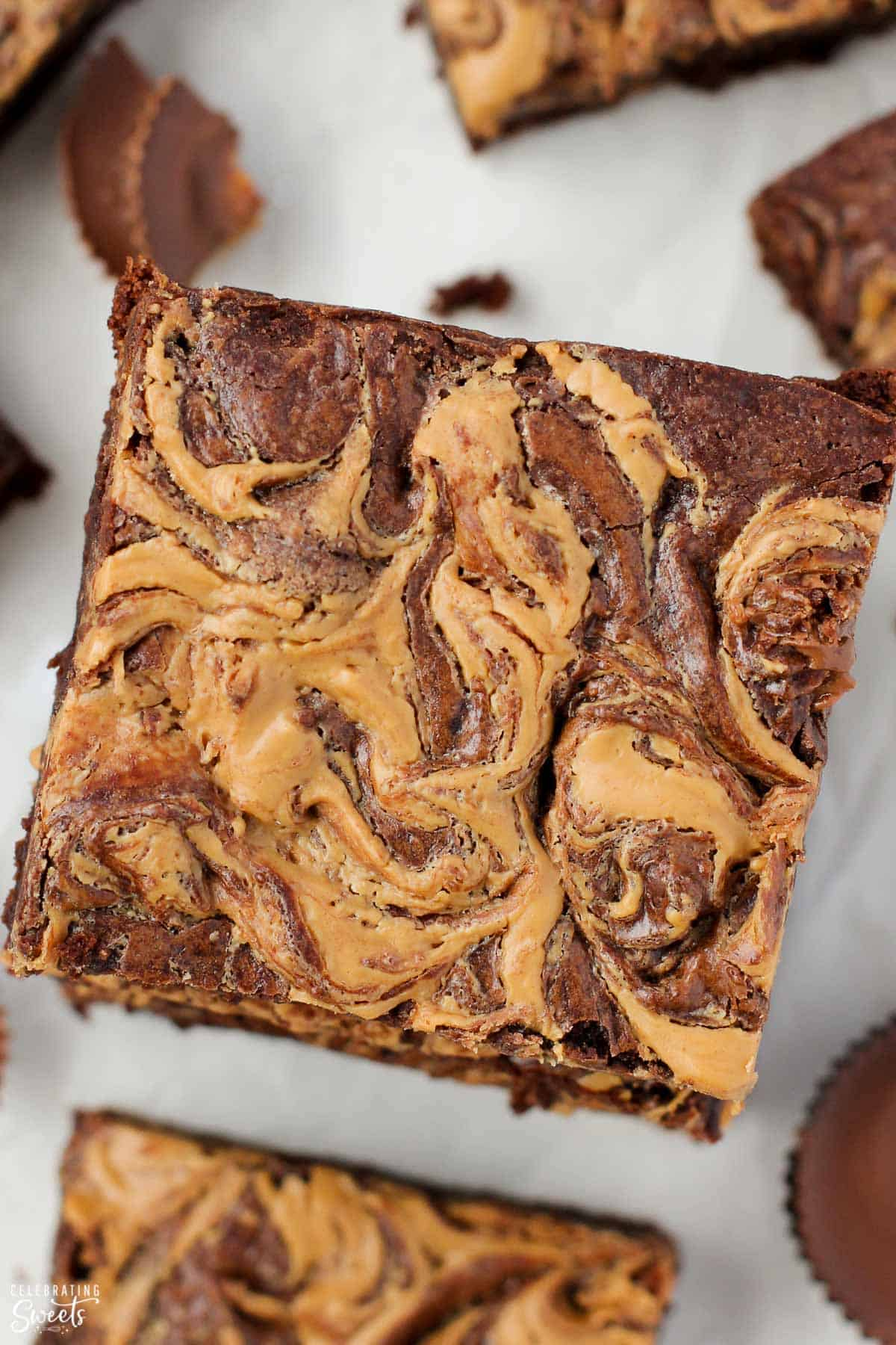 Closeup of a brownie with a peanut butter swirl