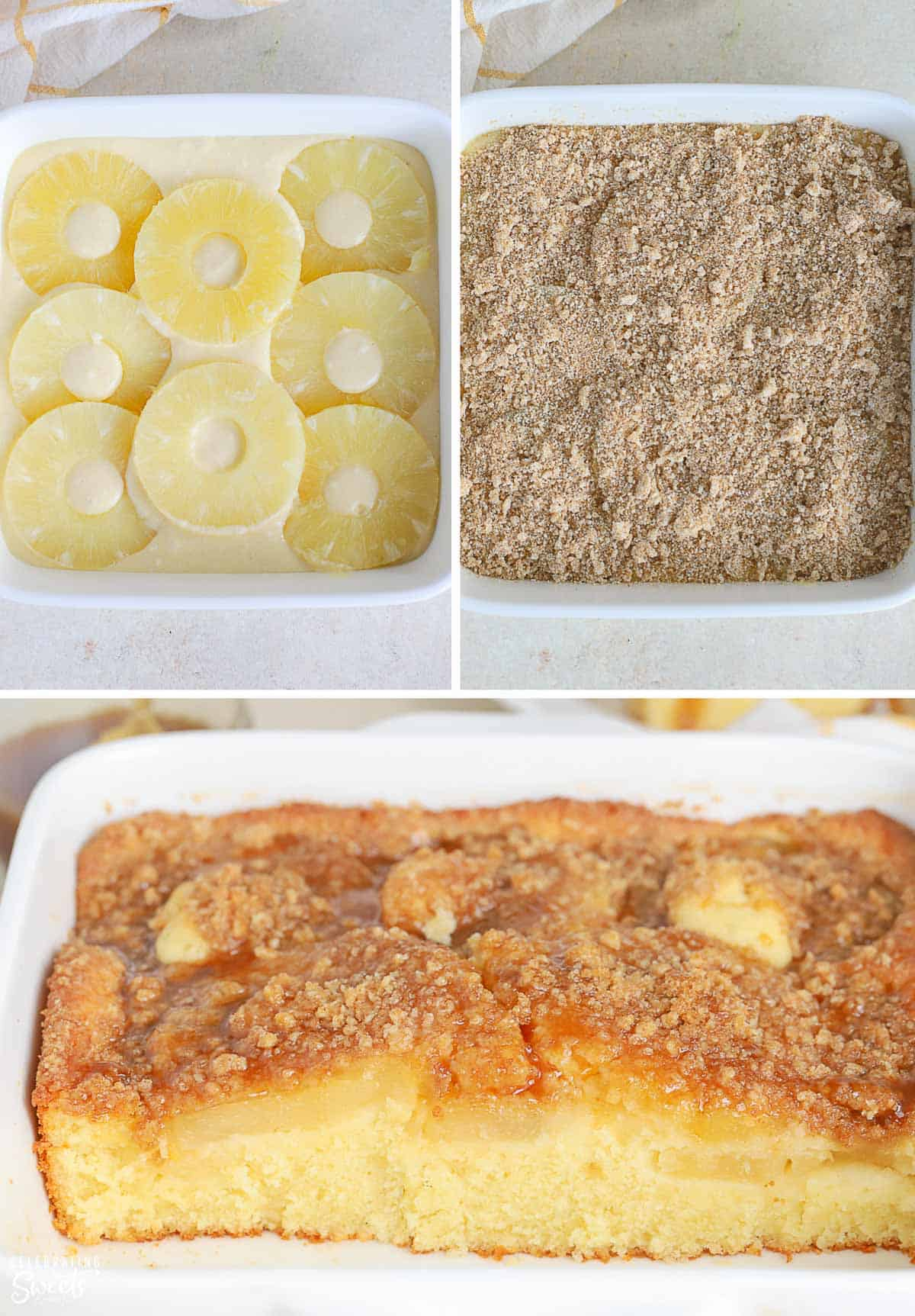 Collage of pineapple cake and pineapple cake batter in a baking dish