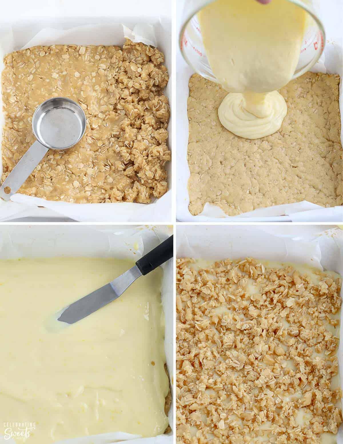Step by step how to make lemon crumb bars
