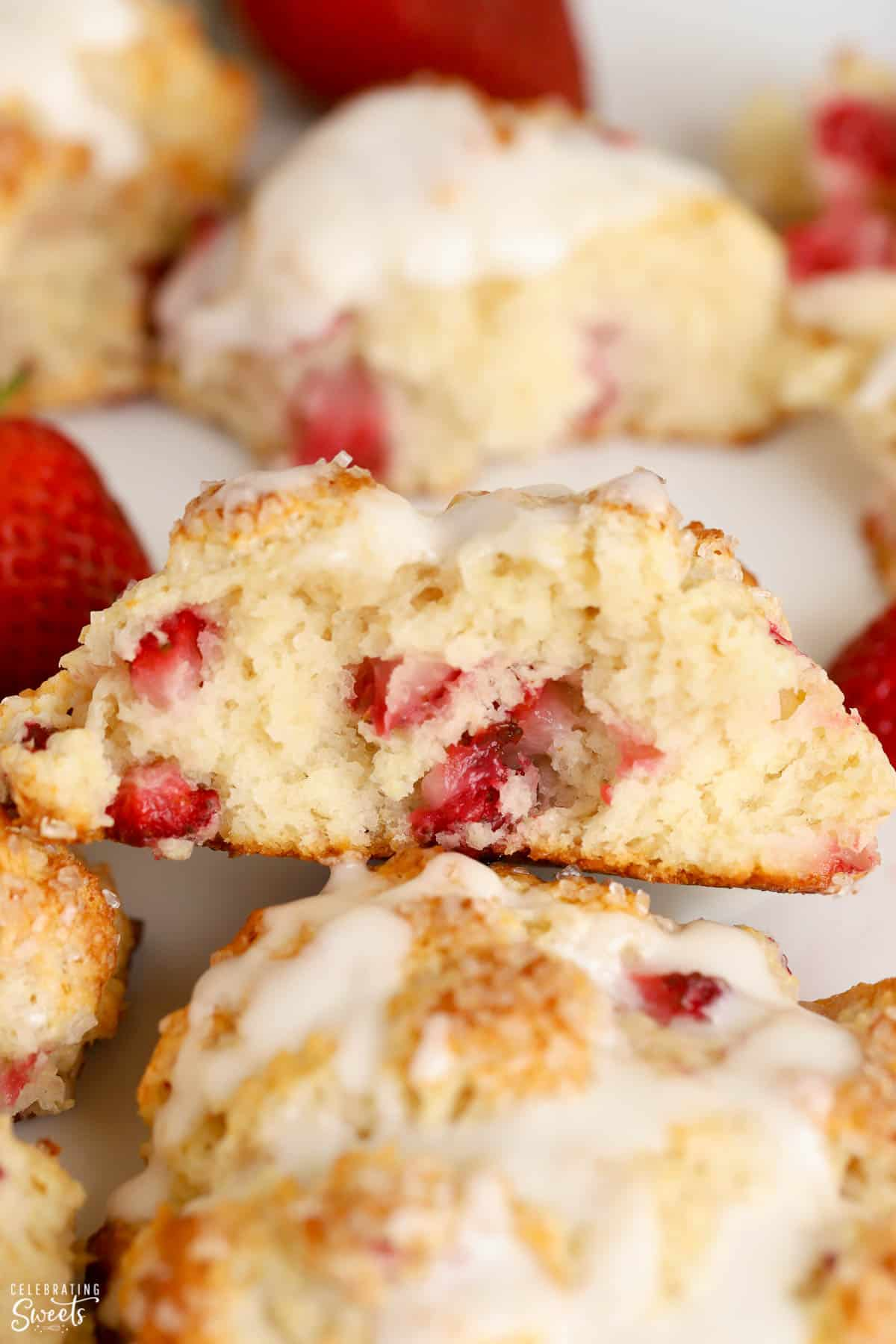 Closeup of strawberry biscuits on parchment paper