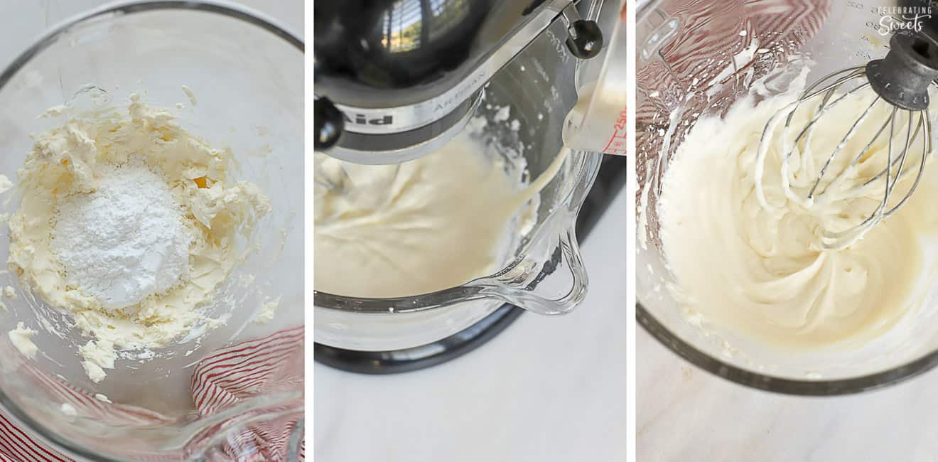 Cheesecake dip in a glass mixing bowl