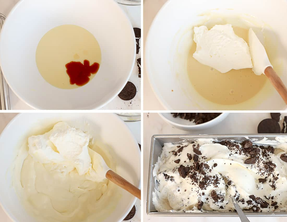 No churn cookies and cream ice cream step by step: ice cream base in a bowl and in a loaf pan with crushed Oreos.