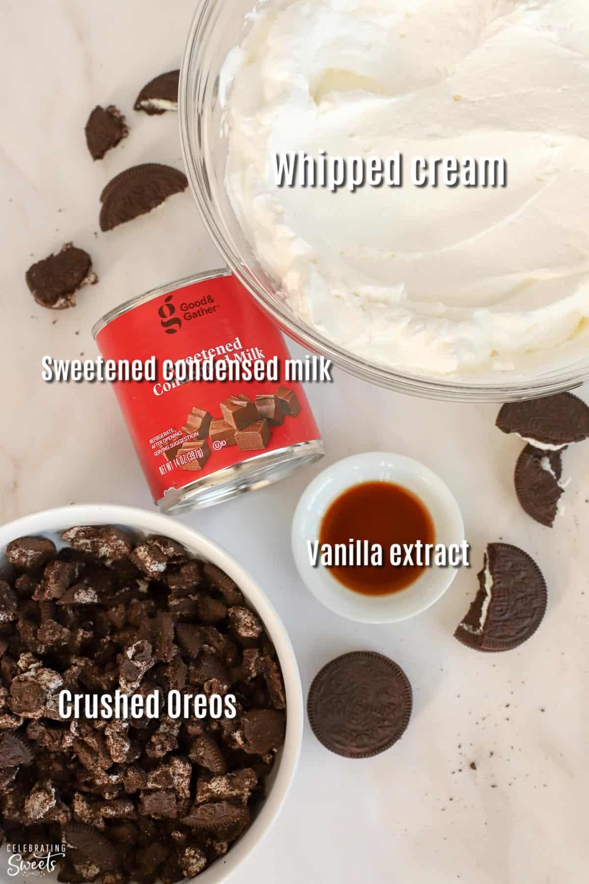 Ingredients for cookies and cream ice cream: whipped cream, sweetened condensed milk, oreos.