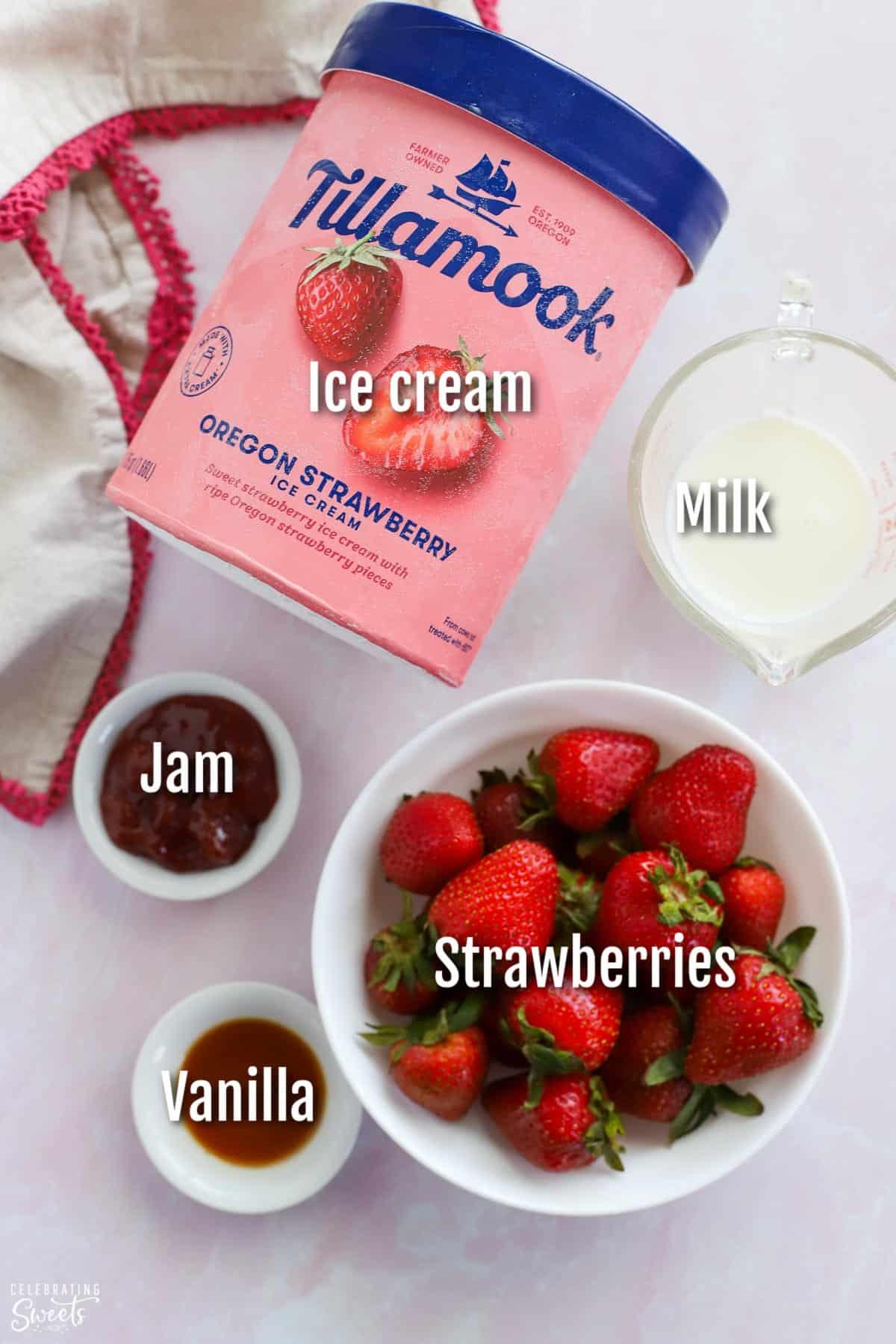 Ingredients for strawberry milkshake: ice cream, milk, strawberries, vanilla, jam.