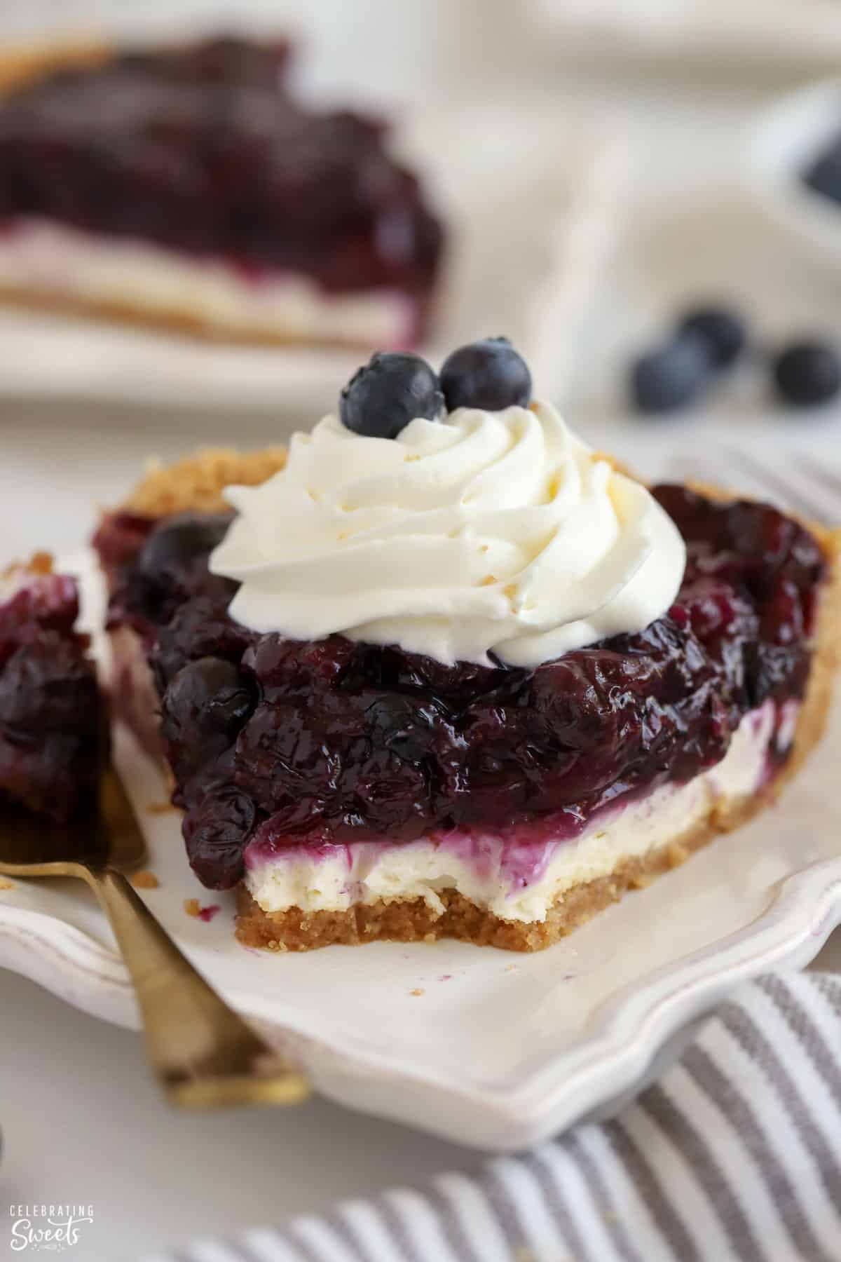 Slice of Blueberry Pie on a white plate topped with whipped cream.
