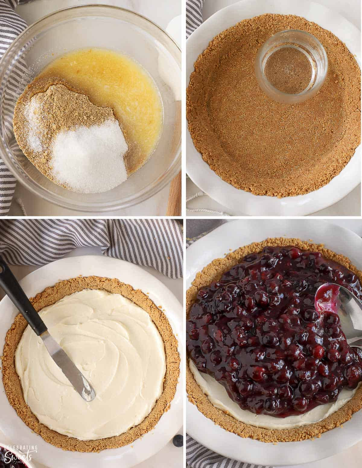 How to make blueberry pie: graham cracker crust, cream cheese filling, and blueberries.