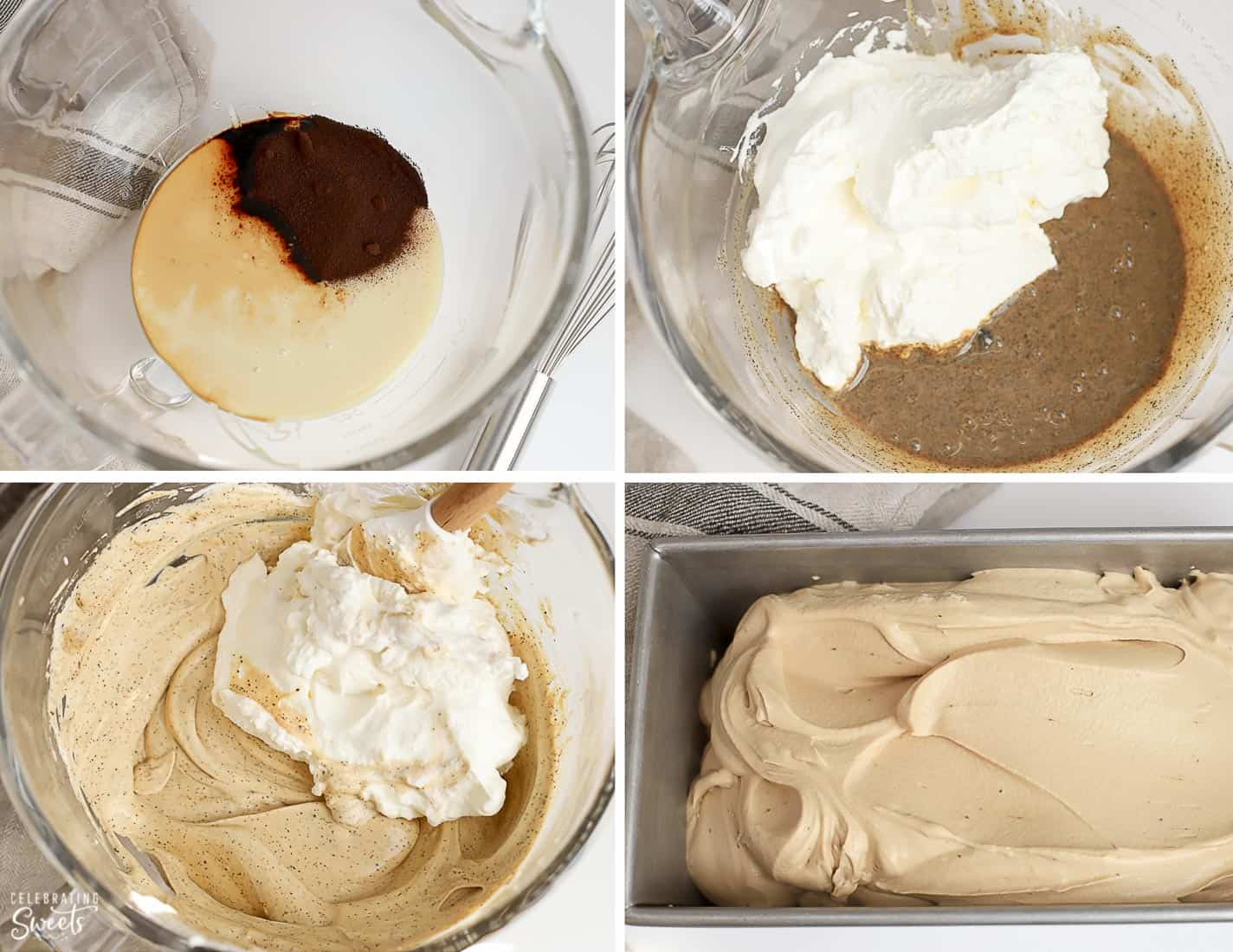 Coffee ice cream base in a bowl and loaf pan.