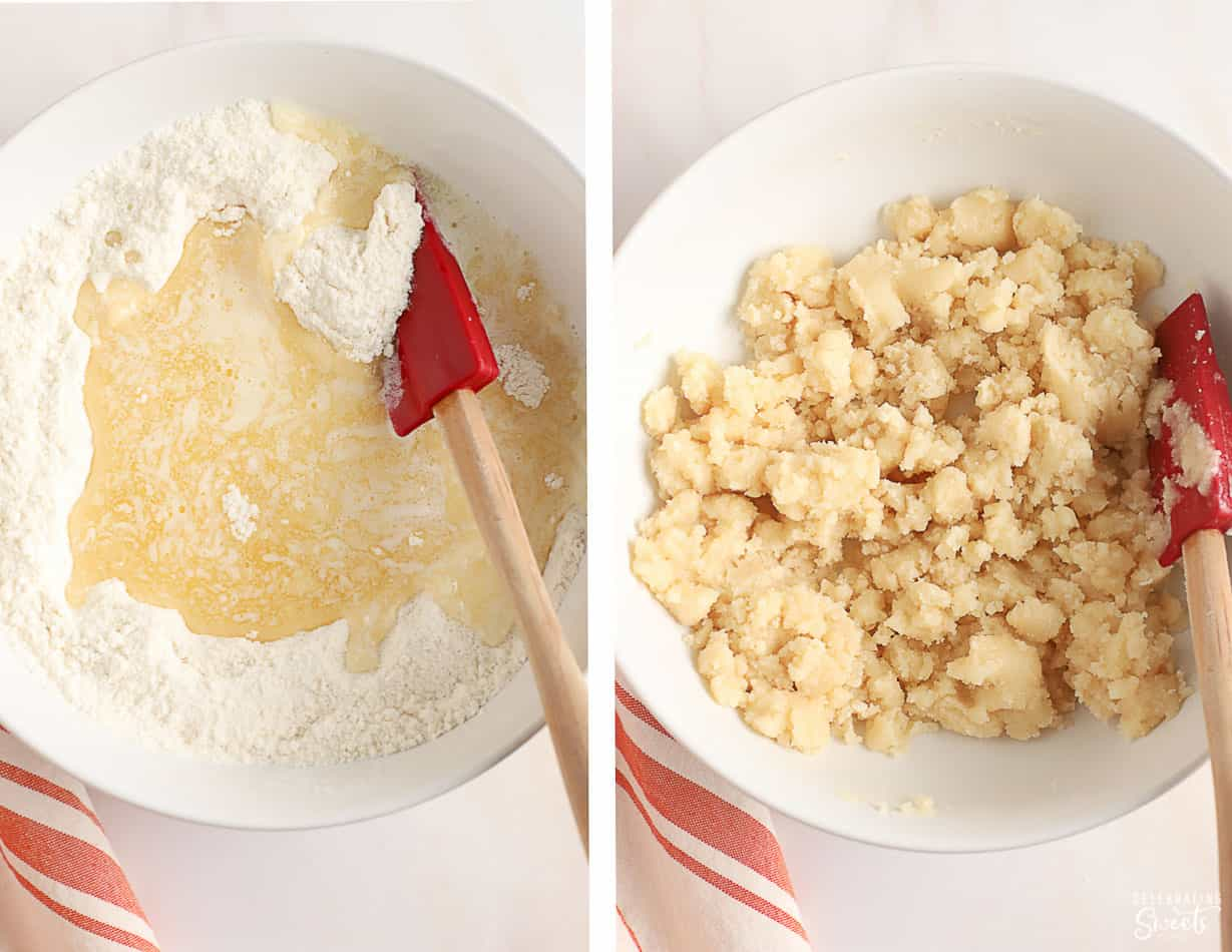 Cobbler dough in a white bowl with a red spatula.