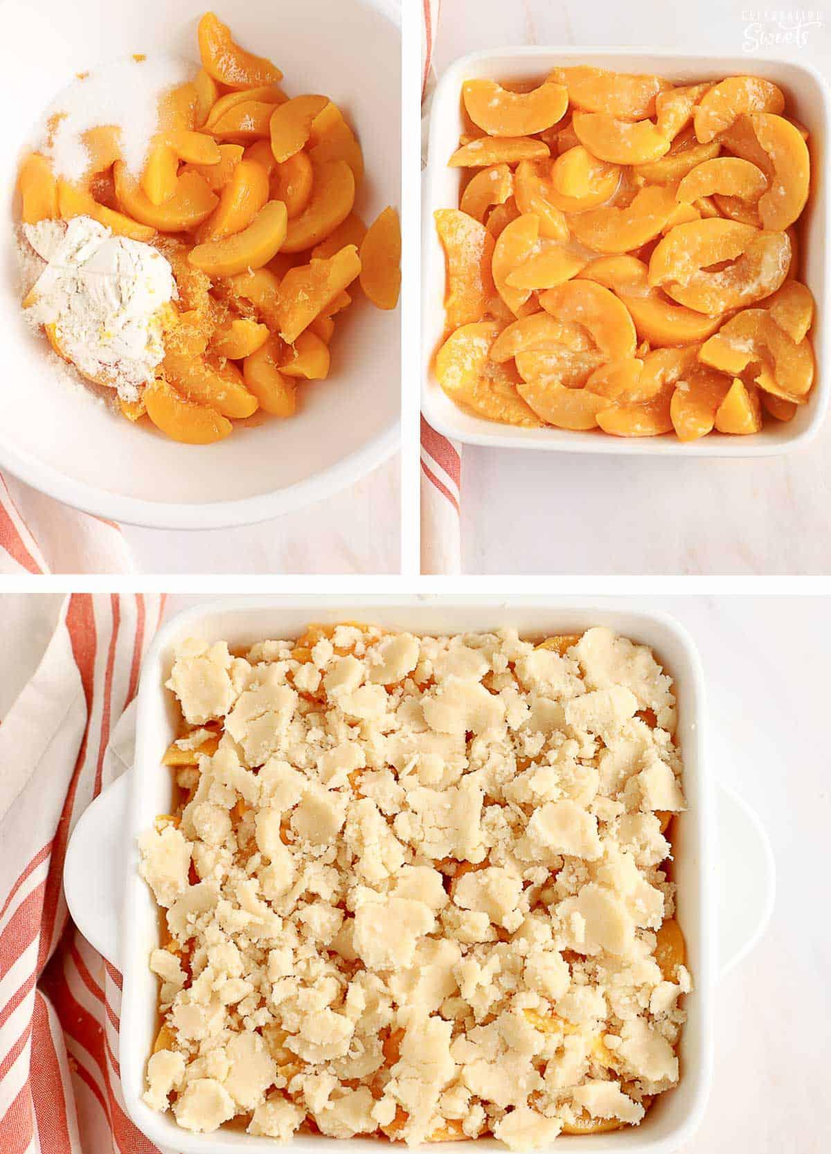How to make peach cobbler: sliced peaches in a bowl, sliced peaches in a baking dish, sliced peaches in a baking dish topped with cobbler dough.