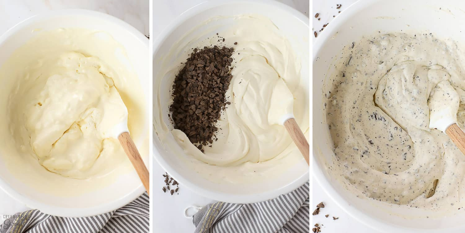 Mint chip ice cream base in a large white bowl with a white spatula.