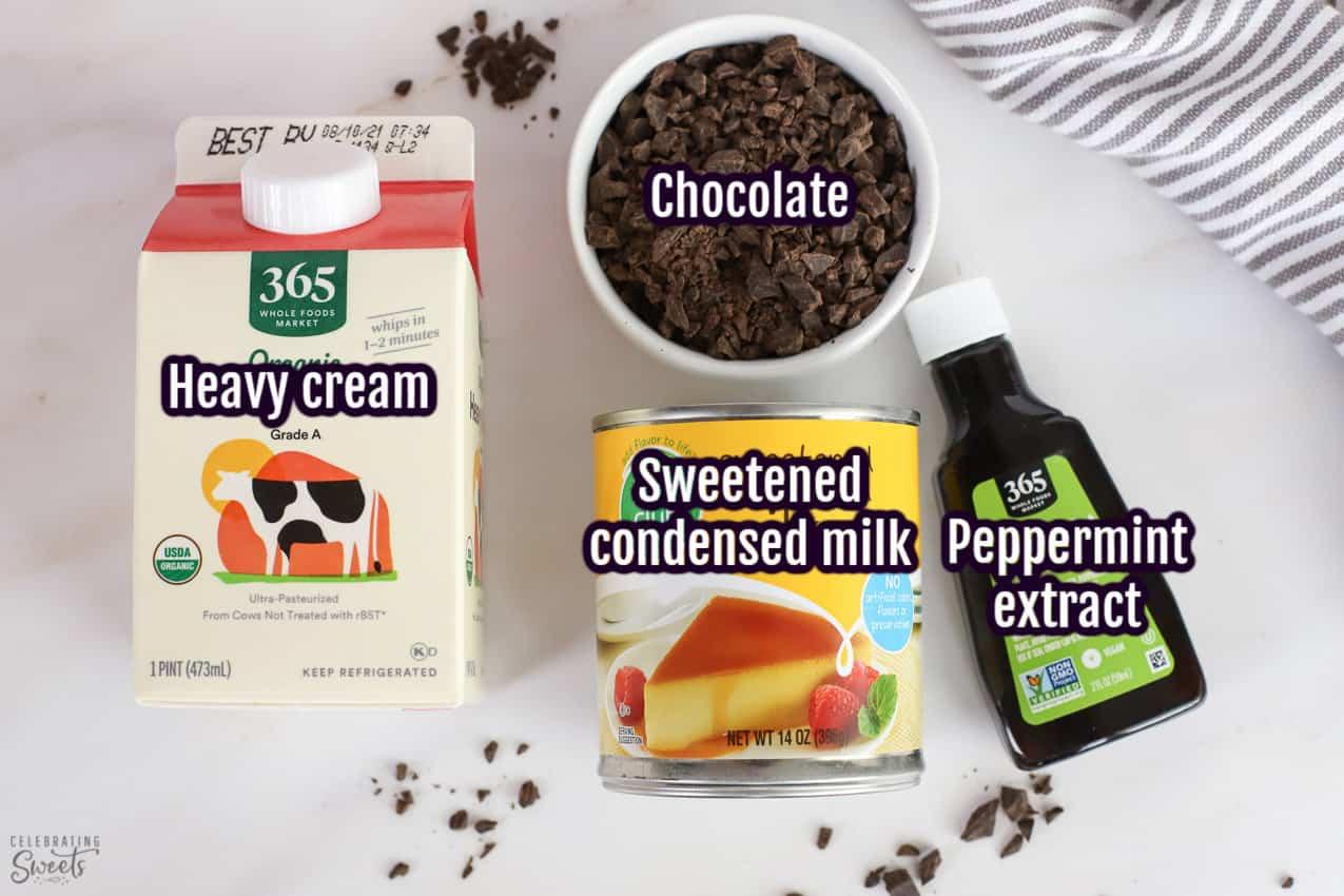 Mint chip ice cream ingredients: cream, condensed milk, mint extract, chocolate.