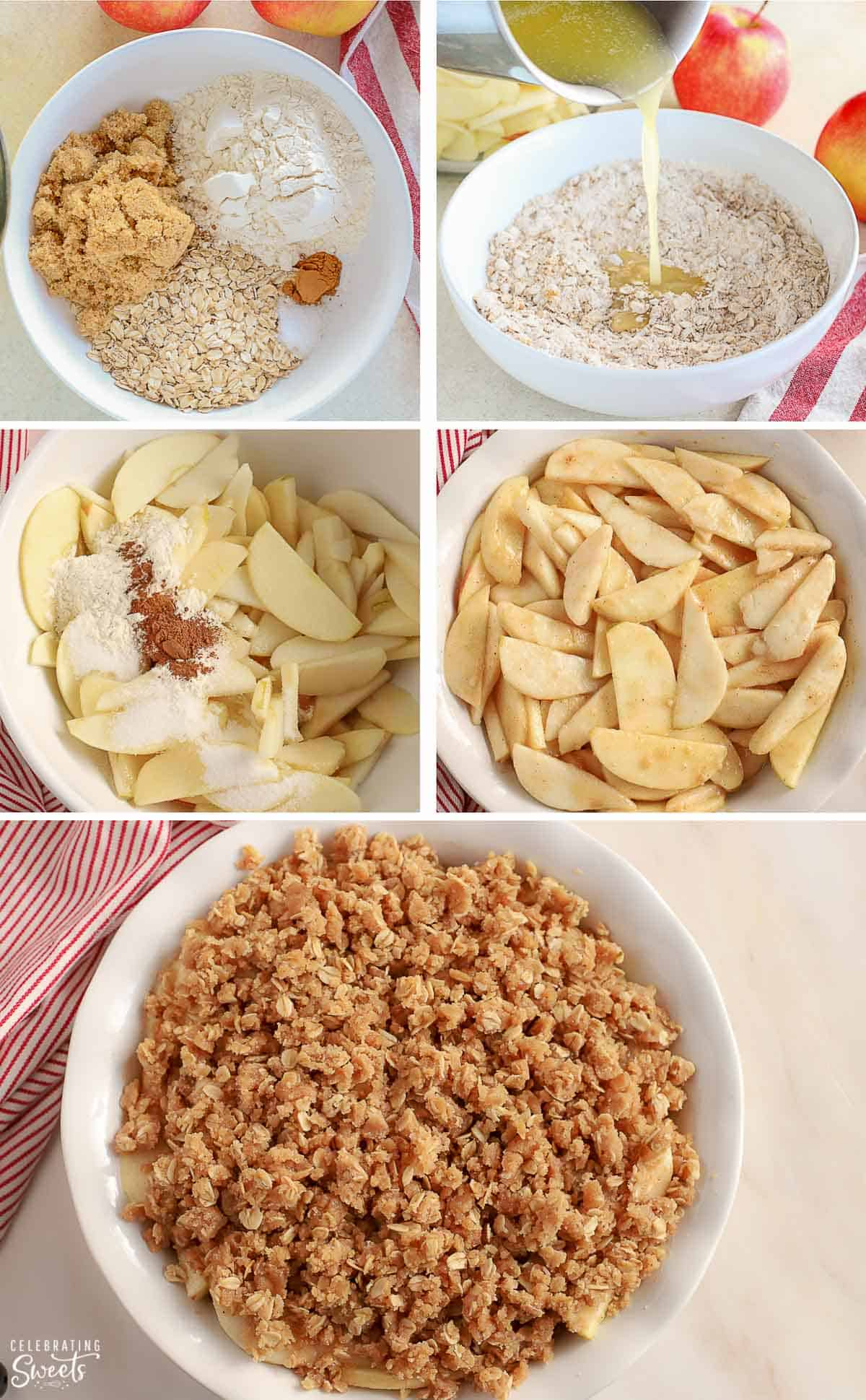 Step by step photos of how to make an apple pear crisp.