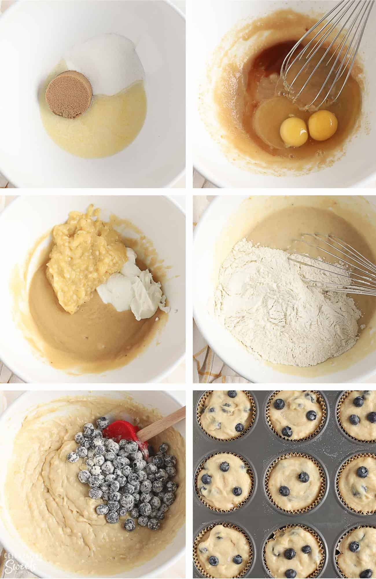 How to make blueberry banana muffins: muffin batter in a bowl and in a muffin tin.
